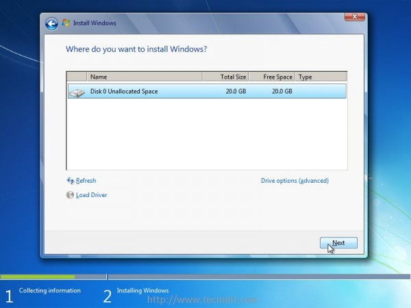 Select Drive to Install Windows 7