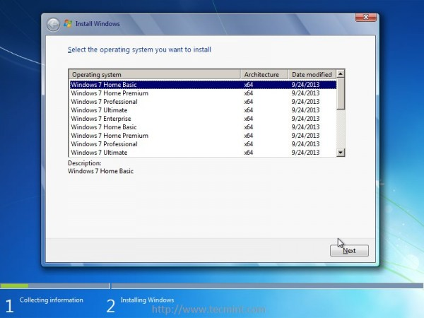 Select Windows 7 Home Basic