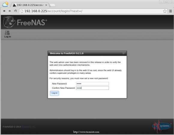 Set FreeNAS root Password
