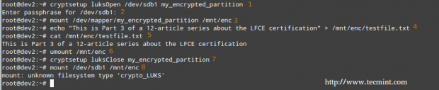 Test Encryption on Partition