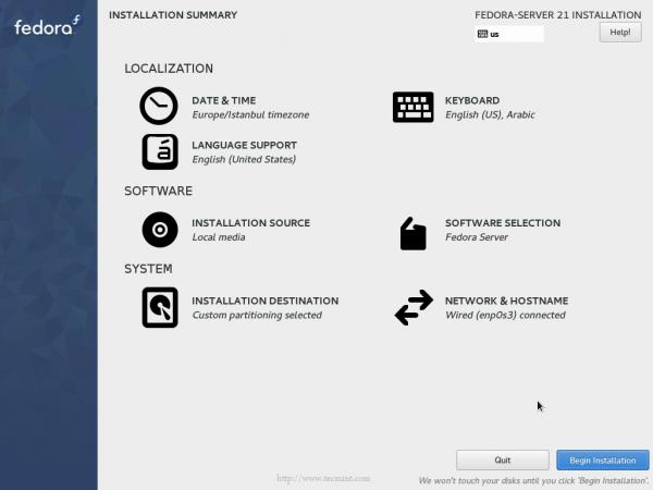 Fedora 21 Begin Installation
