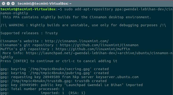 Install Cinnamon Desktop in Ubuntu