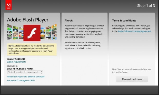Install Flash Player in Fedora 21
