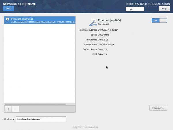 Fedora 21 Network Configuration