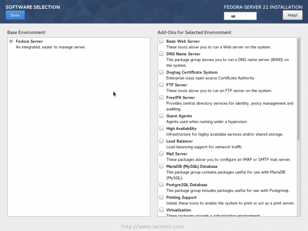 Fedora 21 Software Selection