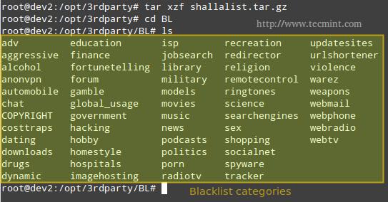 Squidguard Blacklist Domains for Squid