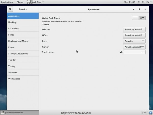 gnome tweak tool for Fedora 21