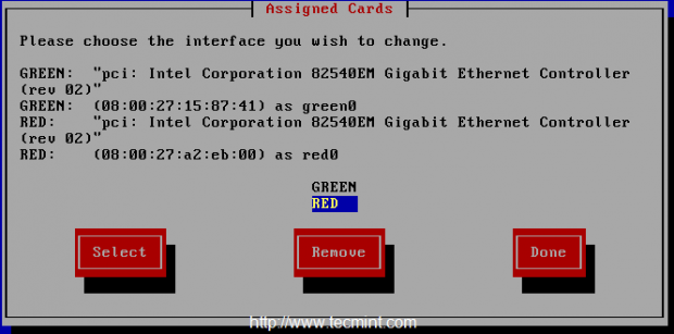 Assign Red Network Interface