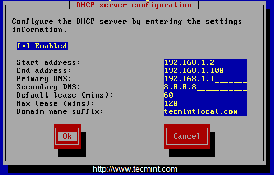 Configure DHCP Settings