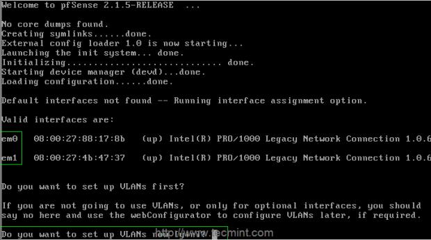 Configure pfSense Network