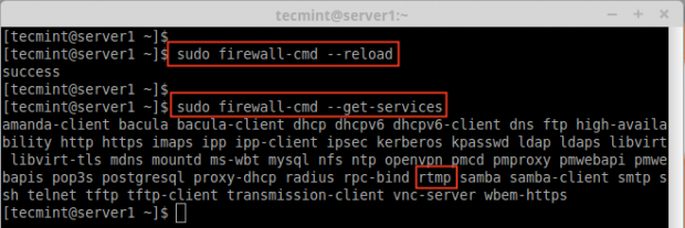 Confirm Added Service in Firewall