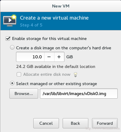 Enable KVM Storage for Virtual Machine