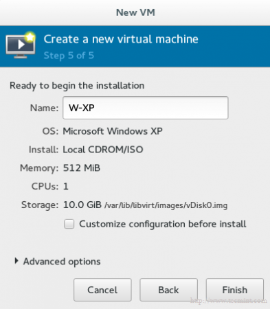 Enter Name of Virtual Machine