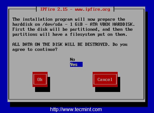 Prepare Disk for IPFire Installation