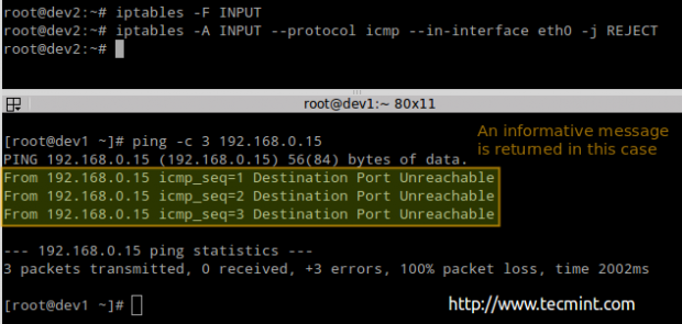 Reject ICMP Ping Request in Linux