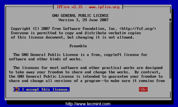Select IPFire License