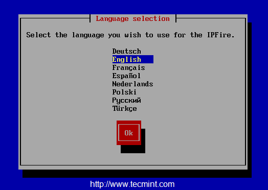 Select IPFire Language