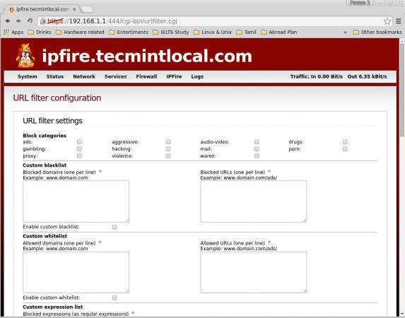 URL Filter Configuration