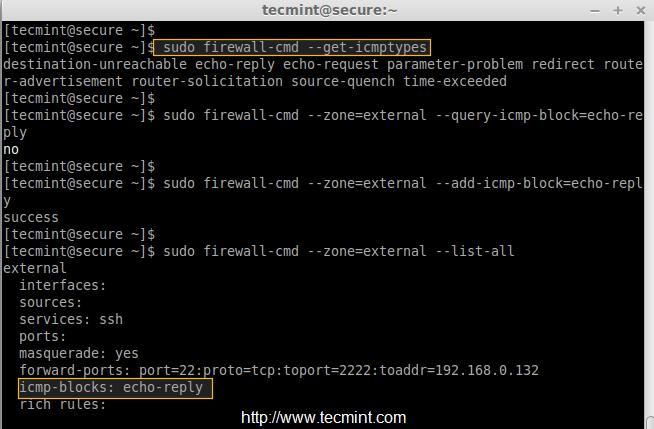 Block ICMP in Firewalld