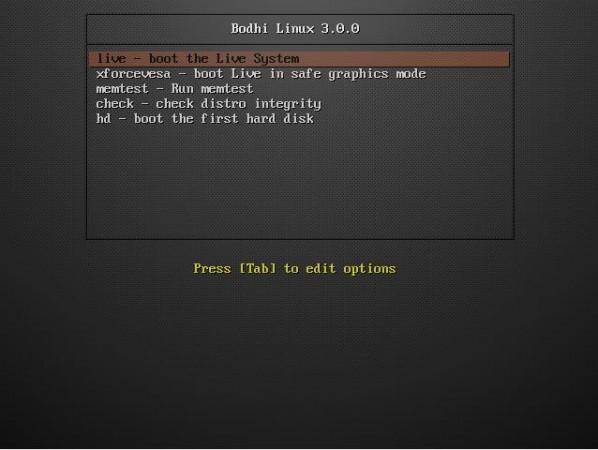 Bodhi Linux Boot Menu