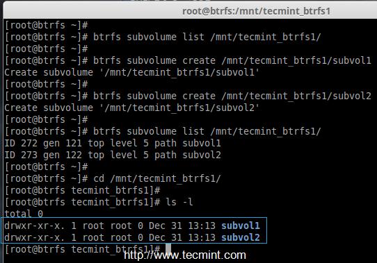Create Btrfs Subvolume