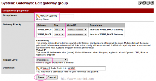 Create Failover WAN2 Group