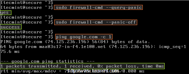 Disable Panic Mode in Firewalld