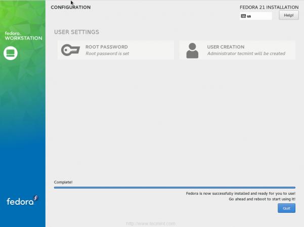 Fedora 21 Installation Finishes