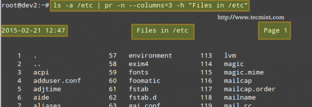 Linux pr Command Examples