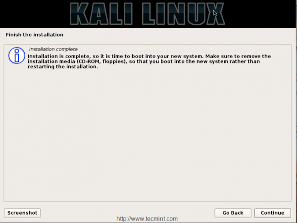 Kali Linux Installation Finishes