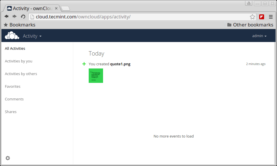 Owncloud Activity Log