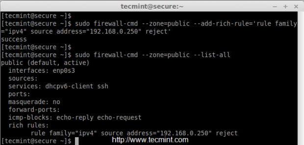 Reject IP Address in Firewalld