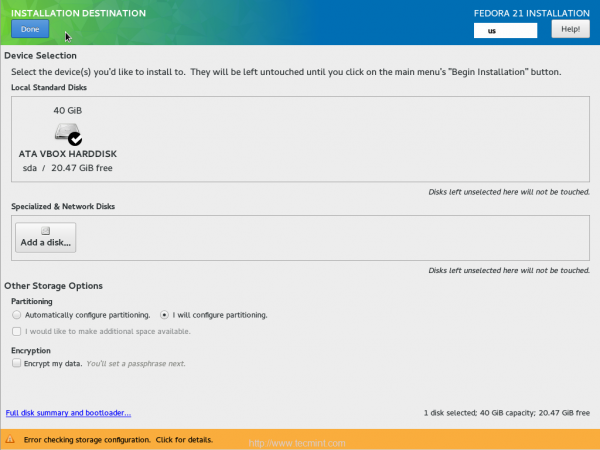 Select Fedora 21 Install Drive