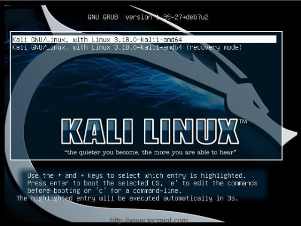 Select Kali Linux from Menu