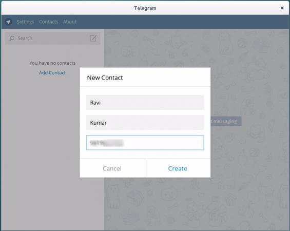 Add New Telegram Contact
