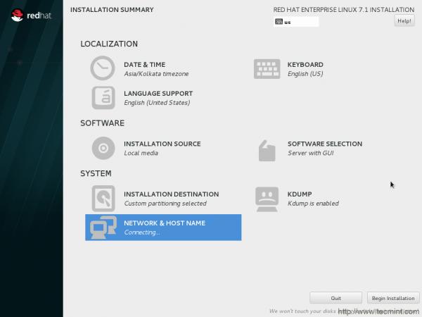 Begin RHEL 7.1 Installation
