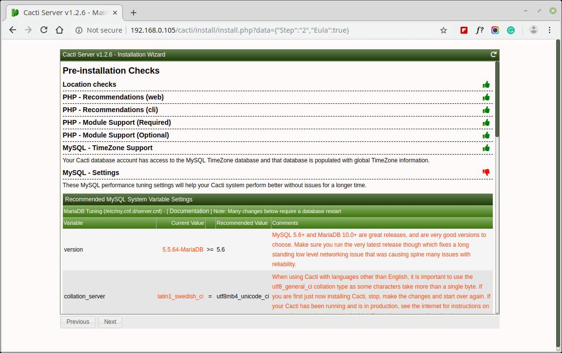 Cacti MySQL Pre-Installation Checks