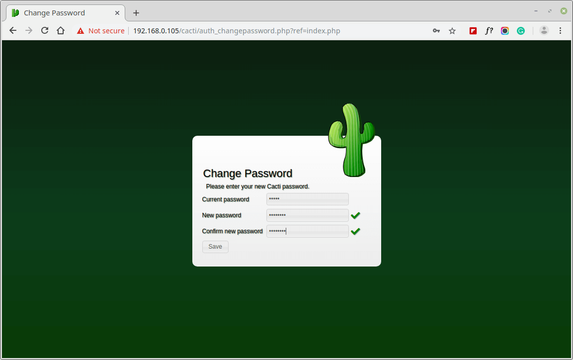 Change Cacti Admin Password