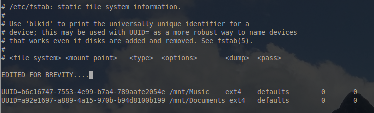 Automatic Mounting Filesystem Entries