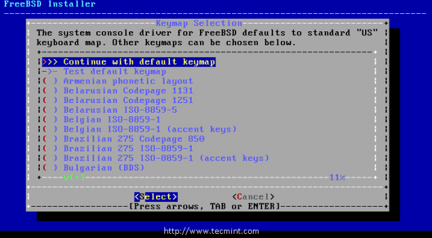 FreeBSD Keymap Selection