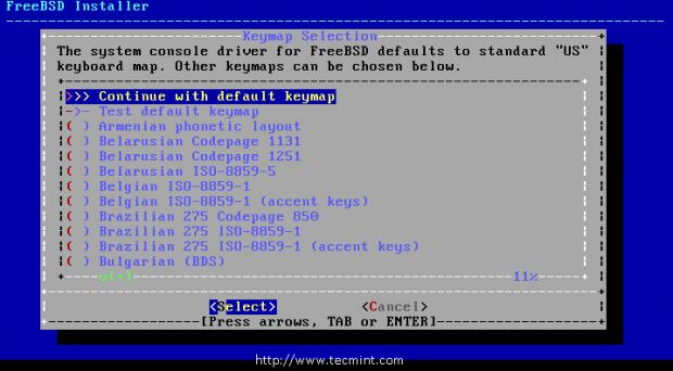 FreeBSD Keymap Selection
