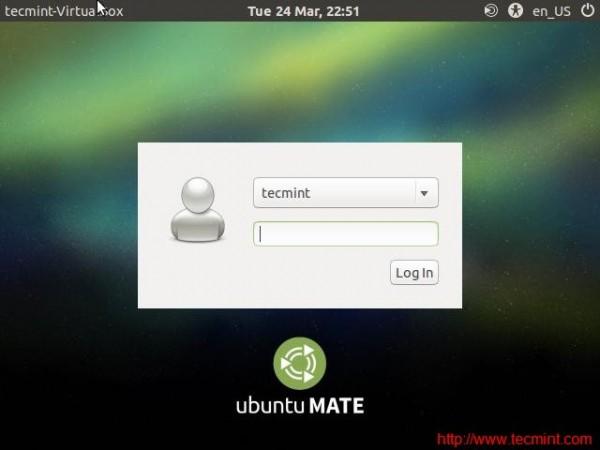 Ubuntu Mate Login Screen