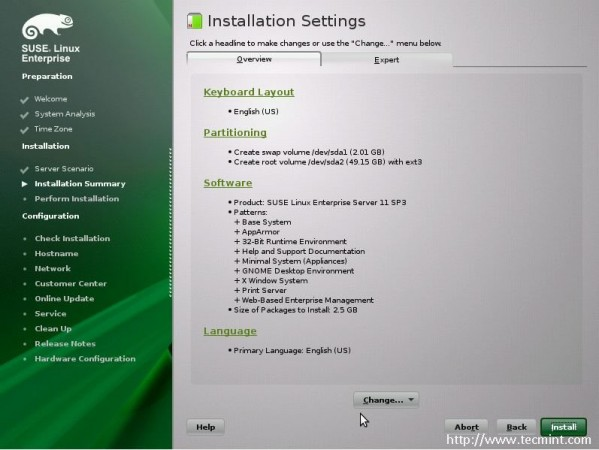 Select Installation Settings
