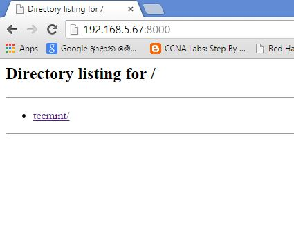 SimpleHTTPServer Directory Listing