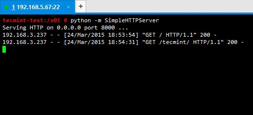 Python SimpleHTTPServer Status