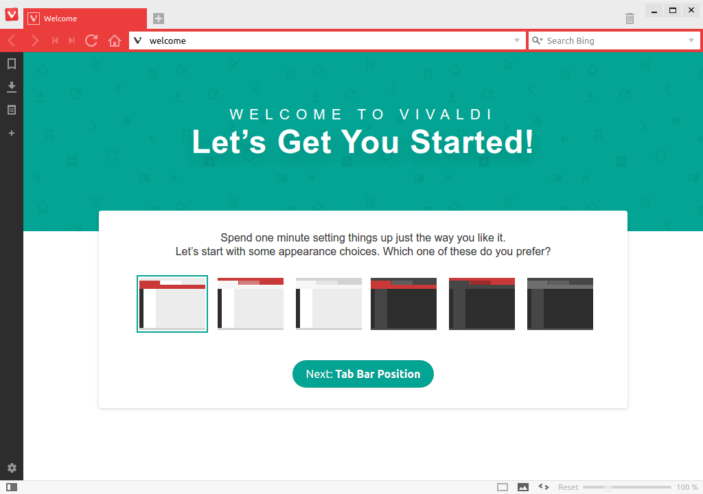Vivaldi Welcome Screen