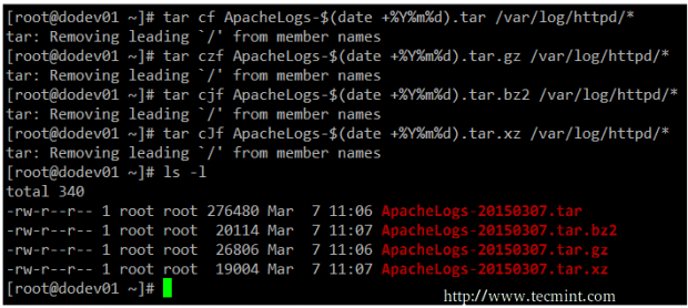 Linux tar command examples
