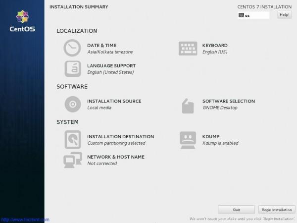Begin Installation of CentOS 7.1