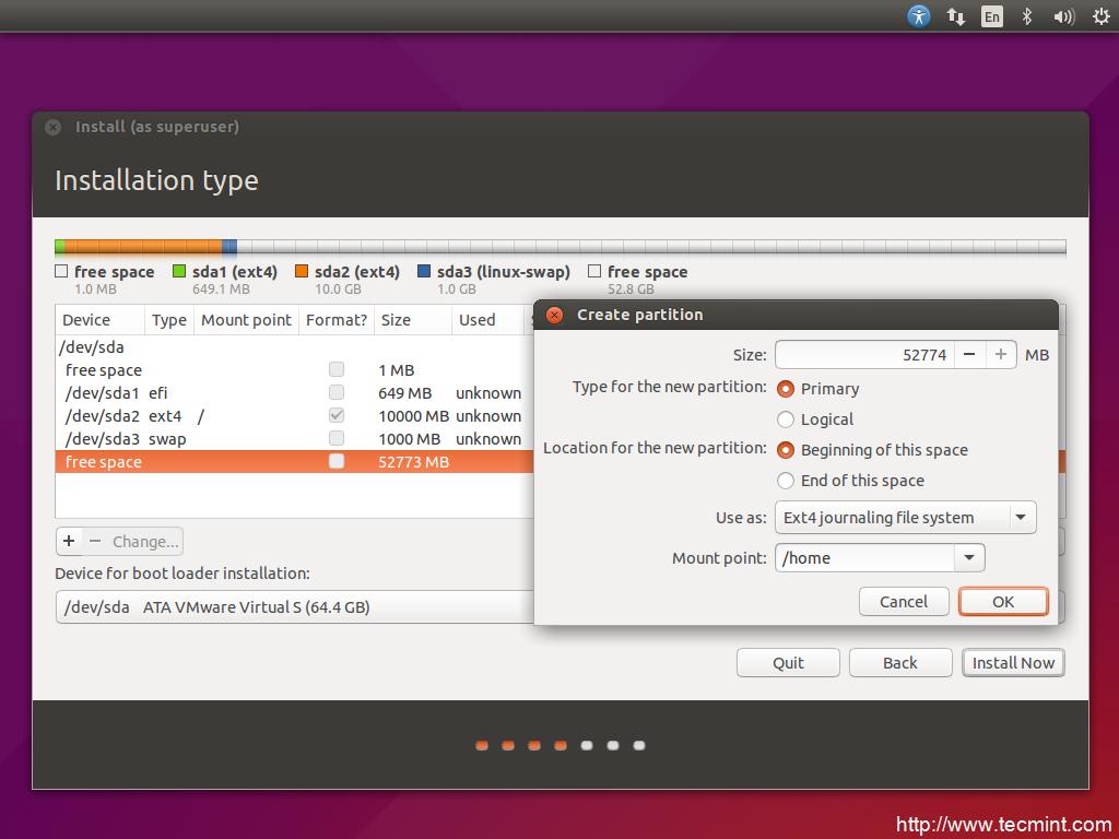 installation of ubuntu 15 04 vivid vervet desktop on uefi firmware rh tecmint com System Requirements Ubuntu 11.04 Ubuntu 16.04 Desktop