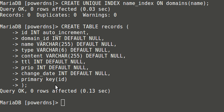 Create Index Domains for PowerDNS